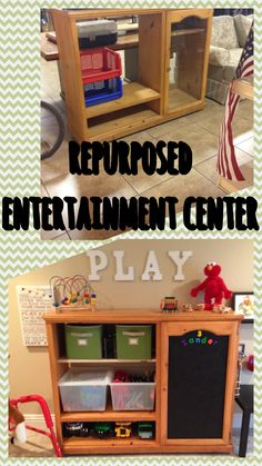DIY Playroom storage - up cycle old entertainment center