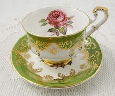 """RESERVED for S* Paragon Green Tea Cup and Saucer """"Antique Rose"""", Signed by Artist (Reg Johnson), Vintage Bone China, Rose Tea Cup"""