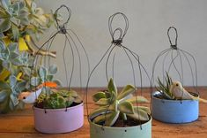 Bottle or plastic container & wire Tin Can Crafts, Wire Crafts, Diy And Crafts, Garden Planters, Garden Art, Flower Pots, Flowers, Wire Art, Plant Decor
