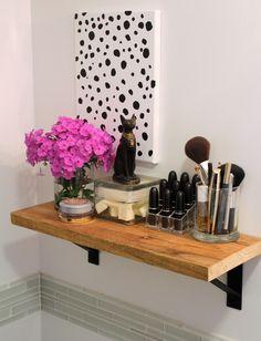 bathroom shelf and diy dot painting