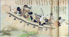 13th century scroll showing samurai on a boat using shields, this was during the Mongol invasion of Japan.