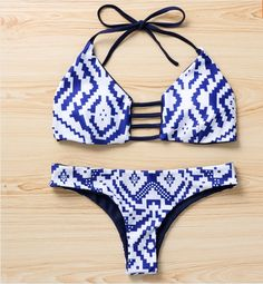 Let this Blue and White Diamond Bikini Huge your Beautiful curves!