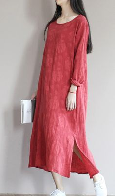 A totally new linen jacquard fabric. Simple design. Top quality jacquard linen sundress long causal summer maxi dresses