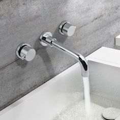 Stev Double Round Handle Wall Mount Sink Faucet