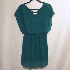 Teal chiffon drape cocktail mini dress v neck Lovely lush dress in great condition. Like new no rips. Flowy and gorgeous. Lush Dresses Mini