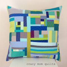 blue and green pillow by crazymomquilts, via Flickr