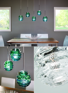 In a surf green color, the thick, organic flowing glass of the Audra pendant light from Tech Lighting is molded by Polish artisans to create an incredibly deep and rhythmic silhouette through which the light is artfully diffused. Available with LED light. Dimmable. Dining Room Lamps, Dining Room Lighting, Bedroom Lighting, Home Lighting, Lighting Design, Lighting Ideas, Rooms Home Decor, Bedroom Decor, Black Lamps