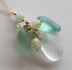 Sea Foam, Rich Aqua, White Sea Glass and Aquamrine necklace by OceanCharmsSeaGlass