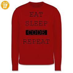Programmierer - Eat-Sleep-Code-Repeat - S - Rot - JH030 - Herren Premium Pullover (*Partner-Link)