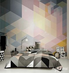 Geometric Wall Mural from myloview #wallpaper #wall #bedroom