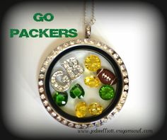 Green Bay Packers Origami Owl Locket - Ross would hate me sharing this pin since he's such a huge Bears fan...but I'm a Cowboys fan so what do I care about the Packers!  LOL.