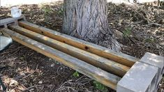How To Make A Cinder Block Bench | Chas' Crazy Creations Outdoor Projects, Diy Projects, Outdoor Decor, Outdoor Ideas, Bar Stool Makeover, Cinder Block Bench, Old Bed Frames, Diy Cabinet Doors, Tree Bench