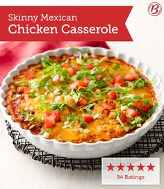 Our members love how this easy Tex-Mex dinner can be assembled ahead of time and baked just before serving. Bonus: It's only 230 calories per serving!