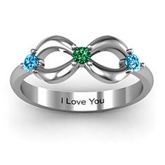 I want this with Isaac's, Matthew's, and my birthstones. I think it's beautiful!    Three Stone Infinity Ring #jewlr