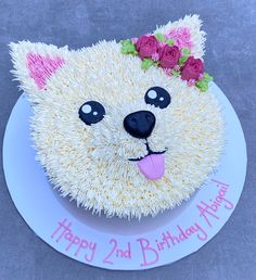 Simple Birthday Cake Designs, Elegant Birthday Cakes, Pretty Birthday Cakes, Birthday Cake Girls, Puppy Birthday Cakes, Puppy Birthday Parties, Dog Birthday, Puppy Party, Dog Cakes