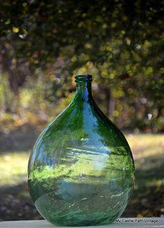 HUGE Green Glass Demijohn / Carboy Jug by MyCastlePathVintage