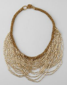 Gold & Clear Bead Drape Necklace