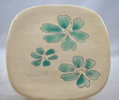 Square Ceramic Plate with Hand Painted Aqua Green Flowers