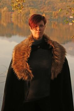 MADE TO ORDER  Black cloak wool faux fur brown by RavenThreadsLab