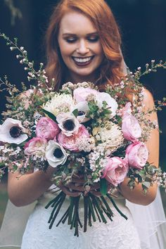 Modern romantic wedding bouquet with pink roses and white anemones | Kristie Carrick Photography