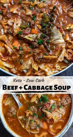 This Easy Beef and Cabbage Soup Recipe is a flavorful, satisfying and Keto-friendly dinner. A healthy homemade low carb Whole 30 soup filled with vegetables that the entire family will love! dinner whole 30 BEEF CABBAGE SOUP RECIPE {KETO} + WonkyWonderful Beef Cabbage Soup, Cabbage Soup Recipes, Easy Soup Recipes, Stuff Cabbage Soup, Cabbage Low Carb Recipes, Beef Broth Soup Recipes, Vegetable Soup Cabbage, Beef Soups, Gourmet
