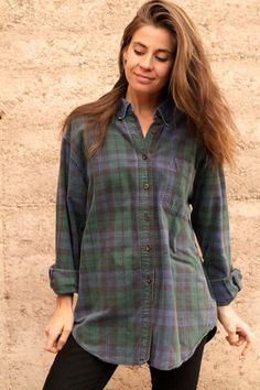 90s nirvana GRUNGE plaid FLANNEL oversized button up down shirt crossover
