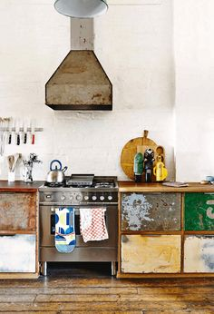 Fab reclaimed vintage units in the kitchen complete with original paint!