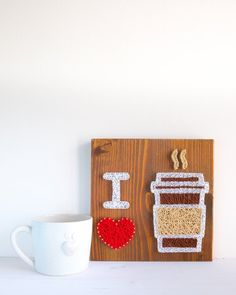 I love coffee string art wall decor sign, perfect gift for coffee addicts or just everyone who enjoys their everyday caffeine, barista sign