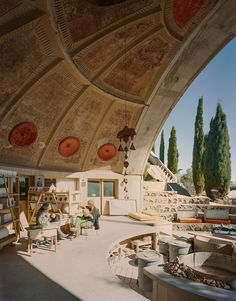 located 70 miles north of phoenix in central arizona, arcosanti is an experimental town conceived by visionary italian architect paolo soleri.