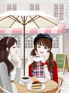 Image about girl in Korean Anime by 아이돌 - 얼짱 on We Heart It Anime Korea, Korean Anime, Korean Art, Cute Korean, Korean Illustration, Cute Illustration, Lovely Girl Image, Girls Image, Coffee Girl