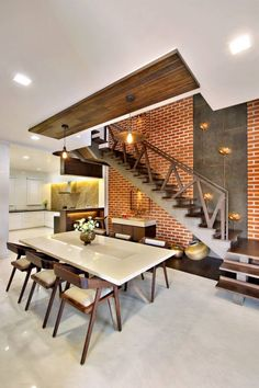Home design kitchen stairs New Ideas Home Stairs Design, Home Interior Design, House Design, Ceiling Design Living Room, Dining Room Design, Design Kitchen, Dining Area, Dining Rooms, Indian Home Design