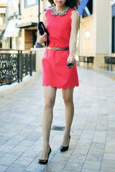 J.Crew Scalloped dress Red scalloped dress. Loving the red shift dresses.