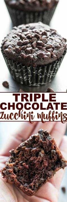 Triple Chocolate Zucchini Muffins - NO dairy or butter and only cup oil in the entire batch! Promise you CANNOT taste the zucchini but it keeps the muffins so soft and moist! Love sneaking in ext(Triple Chocolate Muffins) Cupcakes, Cupcake Cakes, Cake Cookies, Just Desserts, Dessert Recipes, Milk Recipes, Health Desserts, Easy Recipes, Yummy Treats