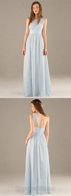 One Shoulder Prom Dresses, Blue Prom Dress, Aline Evening Gowns, Long Party Dresses, Chiffon Formal Dresses