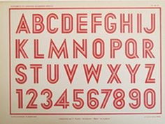 1920 Original French Art Deco Typography Sheet.