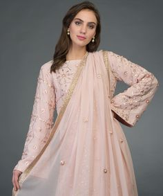 From our Wedding Festive Collection, this is a nude pink pure georgette sharara suit with intricate exquisite rose gold gota patti hand embroidery. The shirt has rose gold gota patti hand embroidery all over in lattice pattern. The pure georgette Pakistani Formal Dresses, Indian Dresses, Indian Outfits, Party Wear Dresses, Bridal Dresses, Plaid Fashion, Fashion Outfits, Women's Fashion, Gota Patti Suits