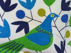 Mint Vintage Swedish Textile MCM Arfelt Birds & by drcarrot, $37.00