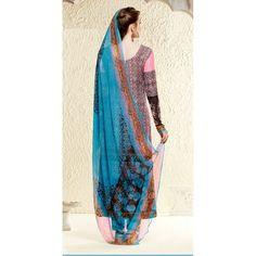 Designer Unstitched Light Pink & Blue Cotton Silk Digital Printed Party Wear Salwaar Kameez-2912 ( HSF-CT-247 )Karishma