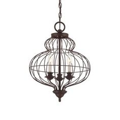 Quoizel Laila 15-in 3-Light Rustic Antique Bronze Cage Chandelier