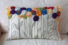 Custom Memory Pillow Embroidered Pillow Fabric by TwoElephantsShop Sewing Pillows, Pillow Fabric, Diy Pillows, Custom Pillows, Decorative Pillows, Throw Pillows, Patchwork Pillow, Fabric Crafts, Sewing Crafts