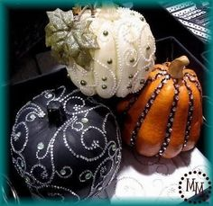 pretty pumpkins #autumn #wedding #dcor consider champagne and white pearls on white or gold sprayed pumpkins for fall wedding