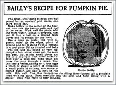 "Pumpkin pie recipe, published in the Grand Rapids Press newspaper (Grand Rapids, Michigan), 15 November 1905. Read more on the GenealogyBank blog: ""What's Your Favorite Pumpkin Pie Recipe? Share It with Us!"" http://blog.genealogybank.com/whats-your-favorite-pumpkin-pie-recipe-share-it-with-us.html"
