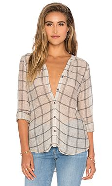Michael Stars Plaid Mesh Long Sleeve Henley Top in Chalk & Oxide