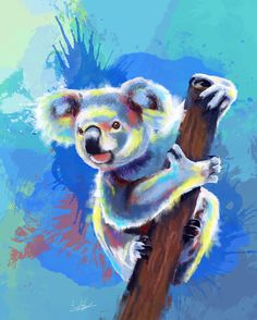Koala Bear, digital painting. This one was a lot of fun to draw. Koalas have such a funny face.  Prints and products are available in my #society6 store.  #koala #koalabear #portrait #animal #wilderness #colorful #painting #digital #print #art #illustration #cute #australia