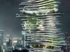 MAD Architects has unveiled plans to create a towering vertical Urban Forest. Designed for Chongqing, China, the projects consists of a stacked vertical forest set in the heart of the city, designed to bring more nature and open space in a dense and compact way.