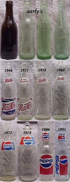 Vintage Pepsi Cola bottles from early days to Antique Glass Bottles, Antique Glassware, Vintage Bottles, Mountain Dew, Clock Vintage, Ginger Ale, Pepsi Cola, Coke, Bottles And Jars