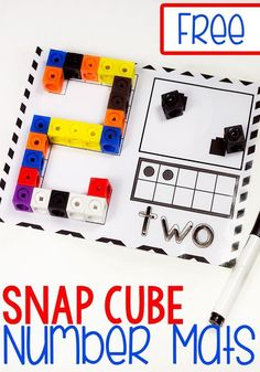 Grab these super cute free printable snap cube number mats for kindergarten! They are a great way to work on number recognition and counting with your kindergarteners! We love our snap cubes! #snapcube #mathprintables #lifeovercs #freeprintable #mathprintable #kindergarten #preschooler