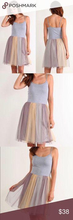 NEW Mystree Dress Tulle Gray Chiffon Pastel Tutu Beautiful Mystree dress. Comfortable & feminine. Available in S M L. Mystree Dresses