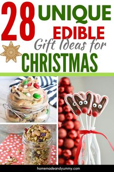 Edible Christmas gifts are easy to make. Great to give and to receive. This roundup has a great selection of food gifts to make for the holiday season. Edible Christmas Gifts, Easy Christmas Treats, Best Christmas Recipes, Edible Gifts, Holiday Recipes, Edible Food, Winter Recipes, Holiday Treats, Thanksgiving Recipes