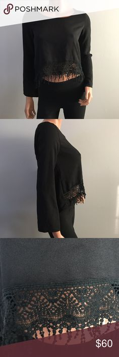 """Nasty Gal Black Crop Top Embroidered Fringe S Excellent used condition  Chest is 32"""" Length is 22"""" Nasty Gal Tops Crop Tops"""